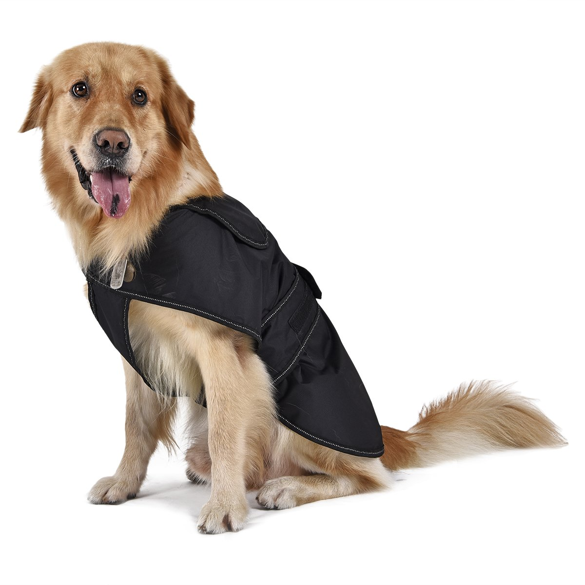 PAWZ Road Dog Coat with Detachable Fleece Lining, Winter Jacket Warm Dog Apparel for Cold Weather Dog Vest for Small Medium Large Dogs with Strip Reflective,Waterproof and No Sticky Hair 18  L