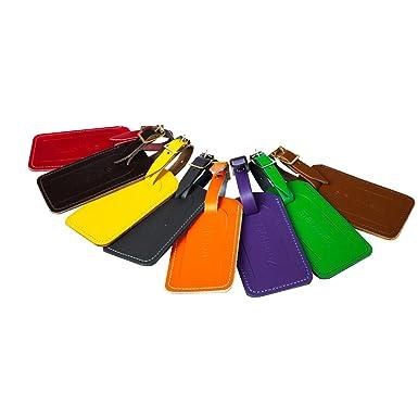 Zatchels - Etiqueta/Identificador de maletas con hebilla hecho a mano de piel (Talla