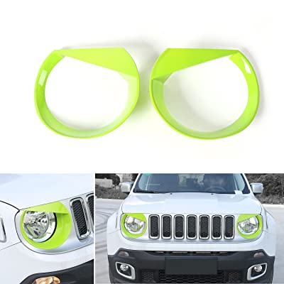 RT-TCZ Front Light Cover Angry Bird Headlight Bezels Cover ABS Trim For 2015 2016 2020 Jeep Renegade-2PCS (Light Green): Automotive