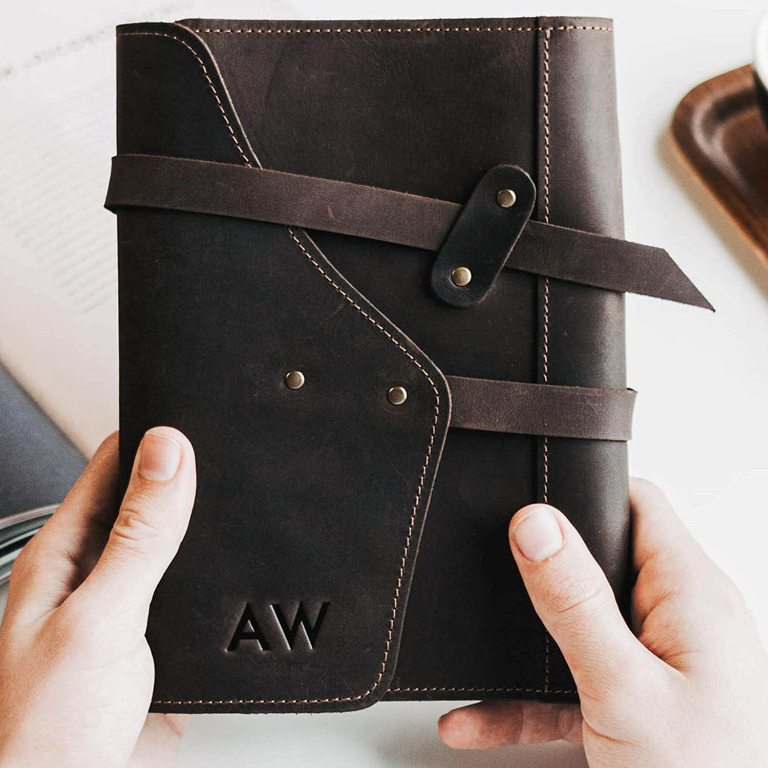 Leather Refillable Journal Stechbook Notebook Diary Business Journal 3rd Anniversary Gift for Husband Boyfriend Father's Day