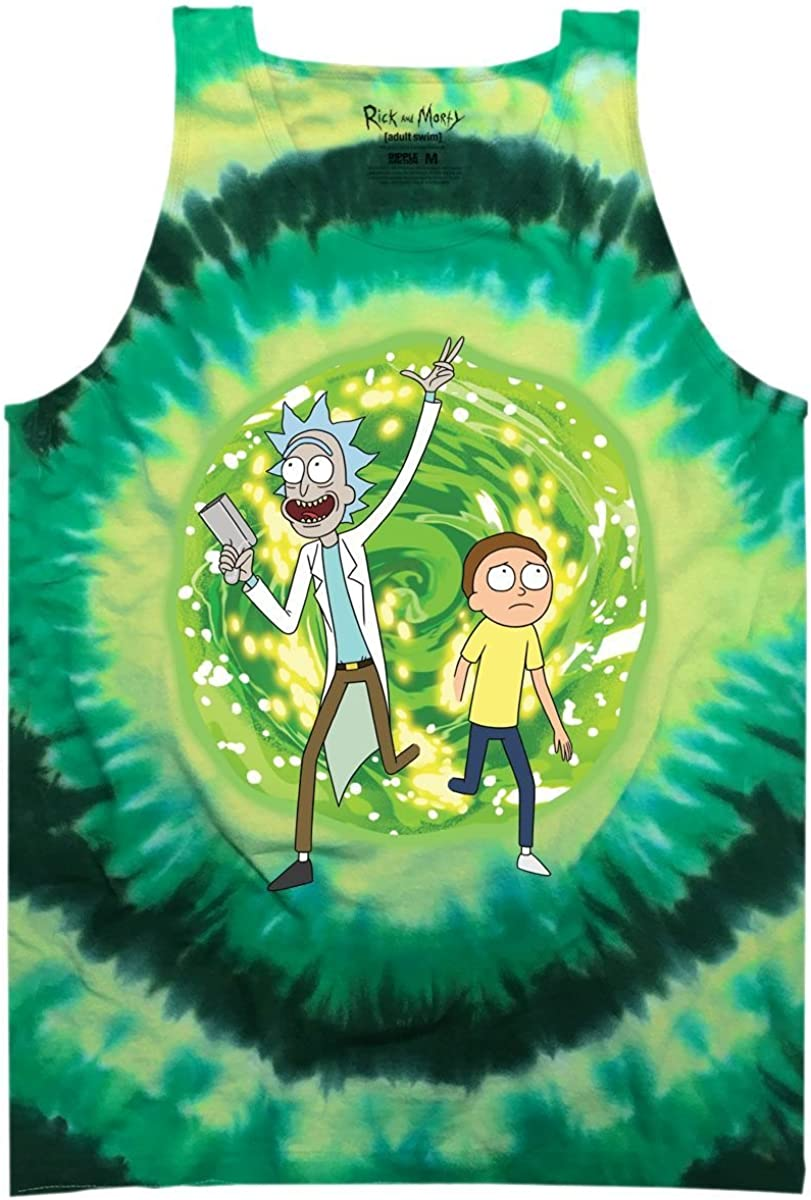 Ripple Junction Rick and Morty Adult Unisex Large Portal Light Weight 100/% Cotton Tie Dye Muscle Tank Top