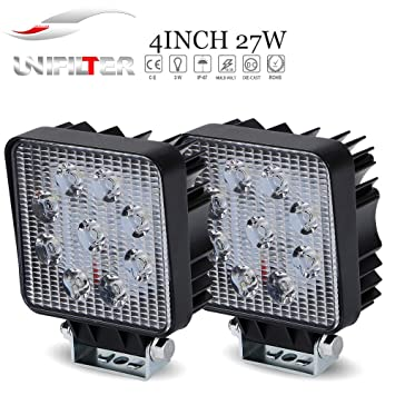 2pcs 27w 4in barra led flood faros antiniebla luces de marcha atrás largo alcance faros de