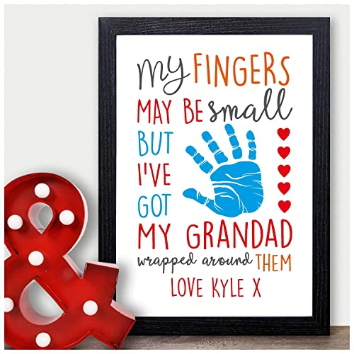 Personalised My Fingers May Be Small Wrapped Around GRANDAD Birthday, Fathers Day, Christmas Gifts for Him, Grandpa, Pops, Grandfather - PERSONALISED with ...