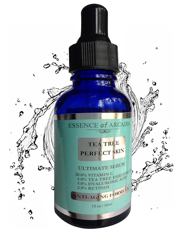 Tea Tree pelle perfetta siero viso, Ultimate anti-aging formula for acne-prone Skin con 20% di vitamina C, olio essenziale di albero del tè, Retinolo e acido ialuronico per chiaro, morbido, Radiant Skin. Essence Of Arcadia