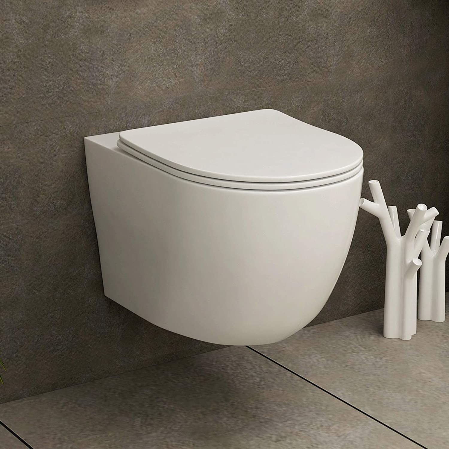 Modern 360mm Bathroom Short Projection Rimless Wall Hung Toilet with Soft Close Seat