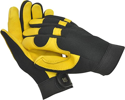 WOMENS Leather Gardening Gloves Gold Leaf Dry Touch Gloves LADIES FIT