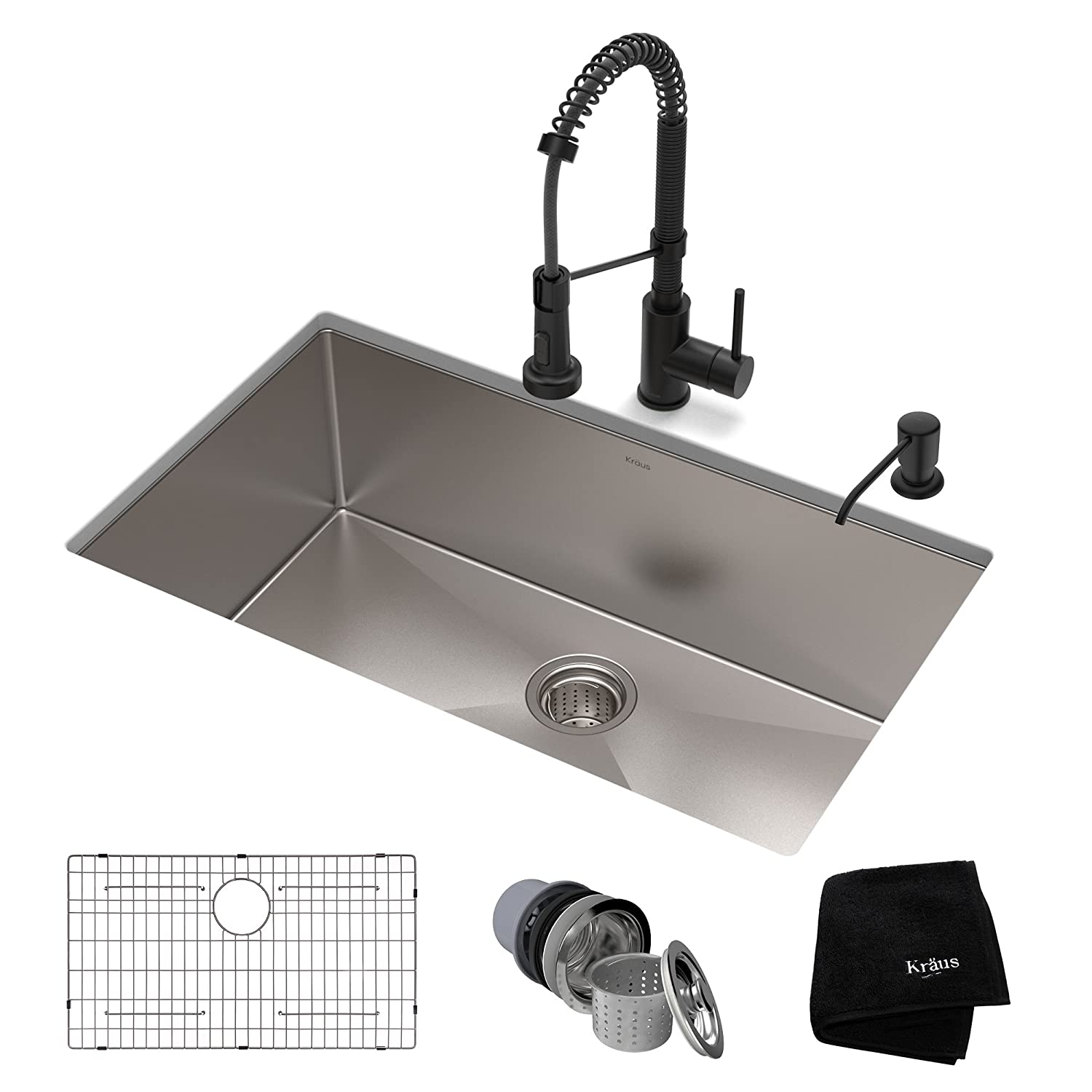 KRAUS KHU100-30-1610-53MB Set with Standart PRO Stainless Steel Sink and Bolden Commercial Pull Faucet in Matte Black Kitchen Sink & Faucet Combo 30 Inch