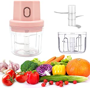 Electric Mini Garlic Chopper, Food Chopper Processor, Nut Chopper with USB Charging, Wireless portable 250ml Meat Chopper Electric, Suitable for Garlic/Beef/Onion/Chili/Nut/Baby Food Supplement(Pink)