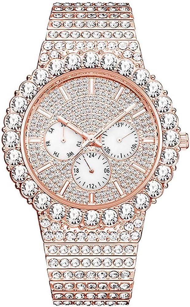 Iced out Hip Hop Diamond Watch para Hombres Bling-ed out Quartz Watch Banda de Acero Inoxidable 30m Relojes de Pulsera Impermeables