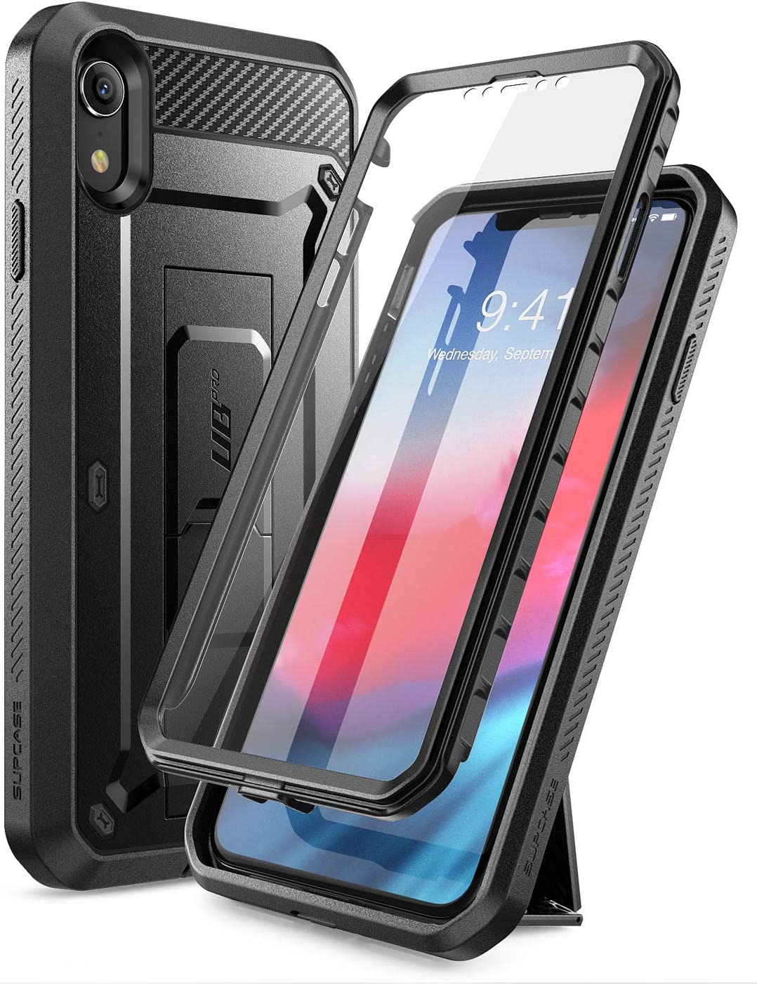 SUPCASE Unicorn Beetle Pro Series Case Designed for iPhone XR, with Built-In Screen Protector Full-Body Rugged Holster Case for iPhone XR 6.1 Inch (2018 Release) (Black)