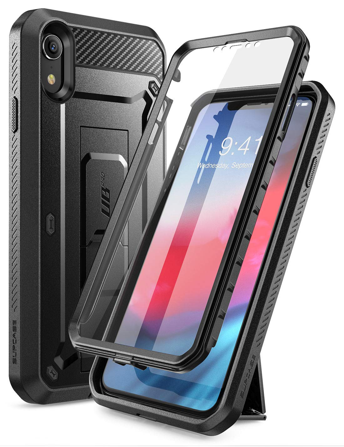 SUPCASE iPhone XR Case, Full-Body Rugged Holster Case with Built-in Screen Protector for Apple iPhone XR (2018 Release), Unicorn Beetle Pro Series (Black)