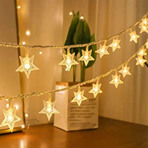 amadecohome Star String Lights, 100 LED Fairy Lights Plug in, Waterproof Christmas Decorations Lights for Indoor, Outdoor, Wedding Party, Christmas Tree, Bedroom (Warm White)