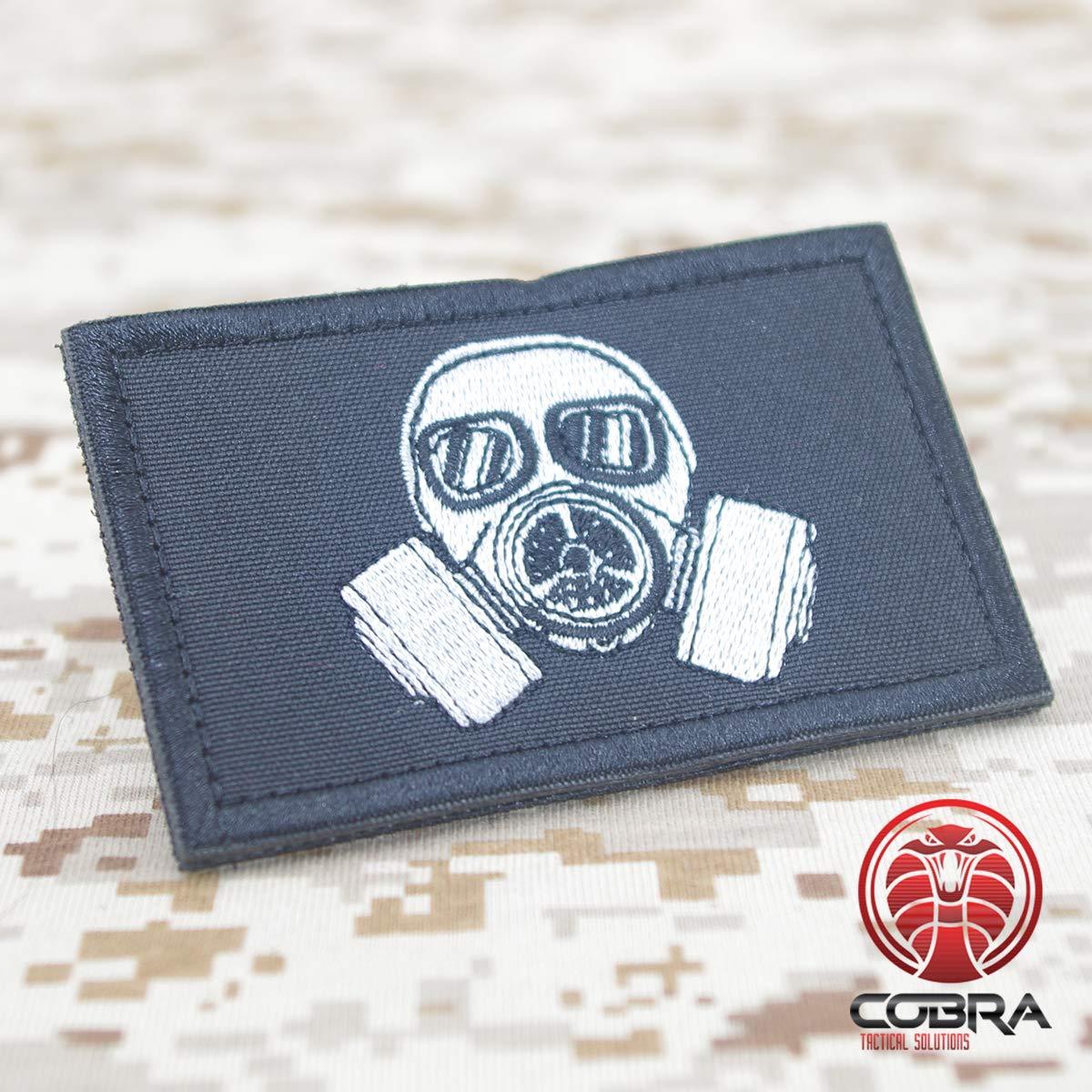 Parche de Bordado Militar para m/áscara de Gas de Riesgo biol/ógico con Gancho y Bucle para Airsoft//Paintball COBRA Tactical Solutions