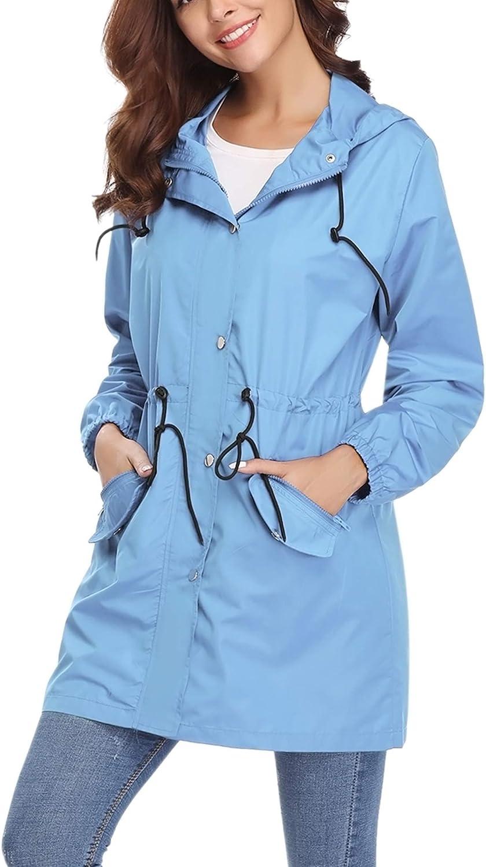 Abollria Womens Outdoor Waterproof Lightweight Windbreaker Raincoat Hooded Rain Jacket