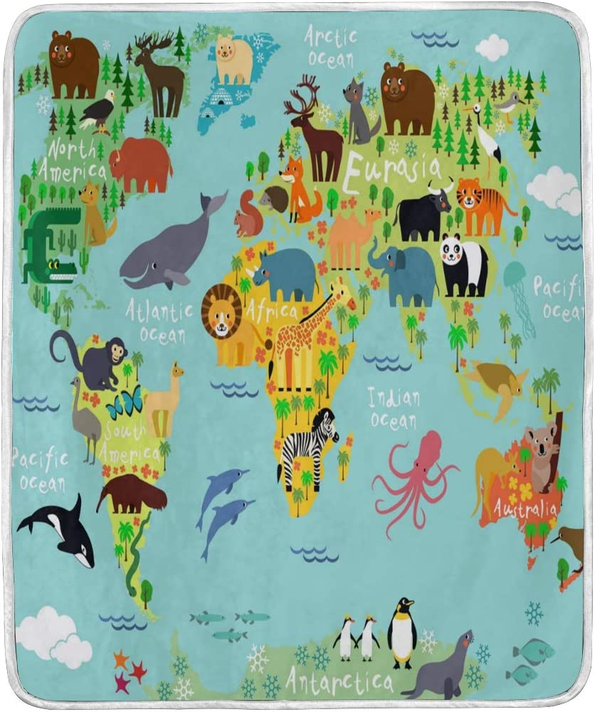 MSGUIDE Animal Map of The Worldthrow Soft Flannel Fleece Throw Blanket,Lightweight Warm Microfiber Plush Couch Sofa Bed Blanket for Adults Kids 50x40