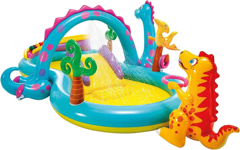 Intex-57135NP Dinoland Play Center-Centro de juegos acuático hinchable, modelo surtido (con y sin volcán)