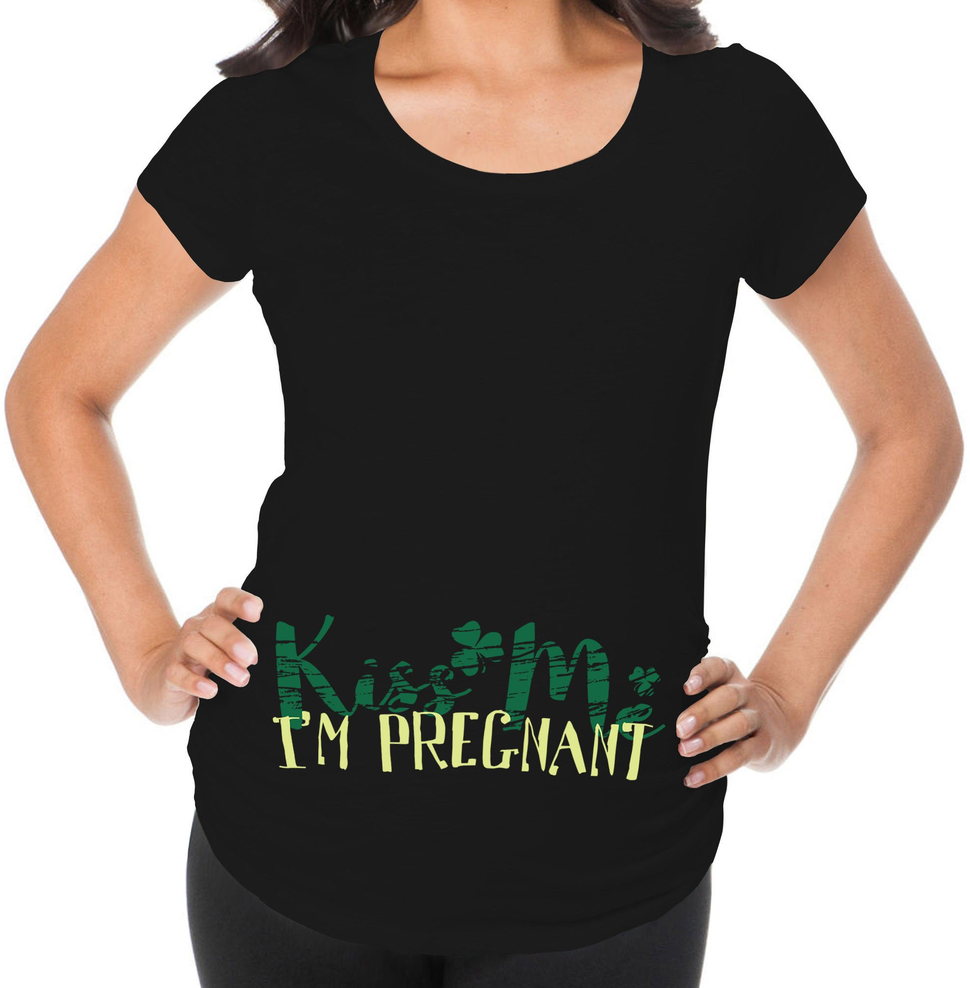 Awkward Styles Kiss Me I`m Pregnant Funny Pregnancy Announcement Maternity T Shirt Expecting Mom Black 2XL