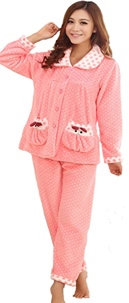 Auspicious beginning Conjunto de pijama de salón de manga larga de felpa de lana para dormir