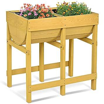 Costway Hochbeet Holz Blumenbeet Blumenkasten Garten Pflanzkasten