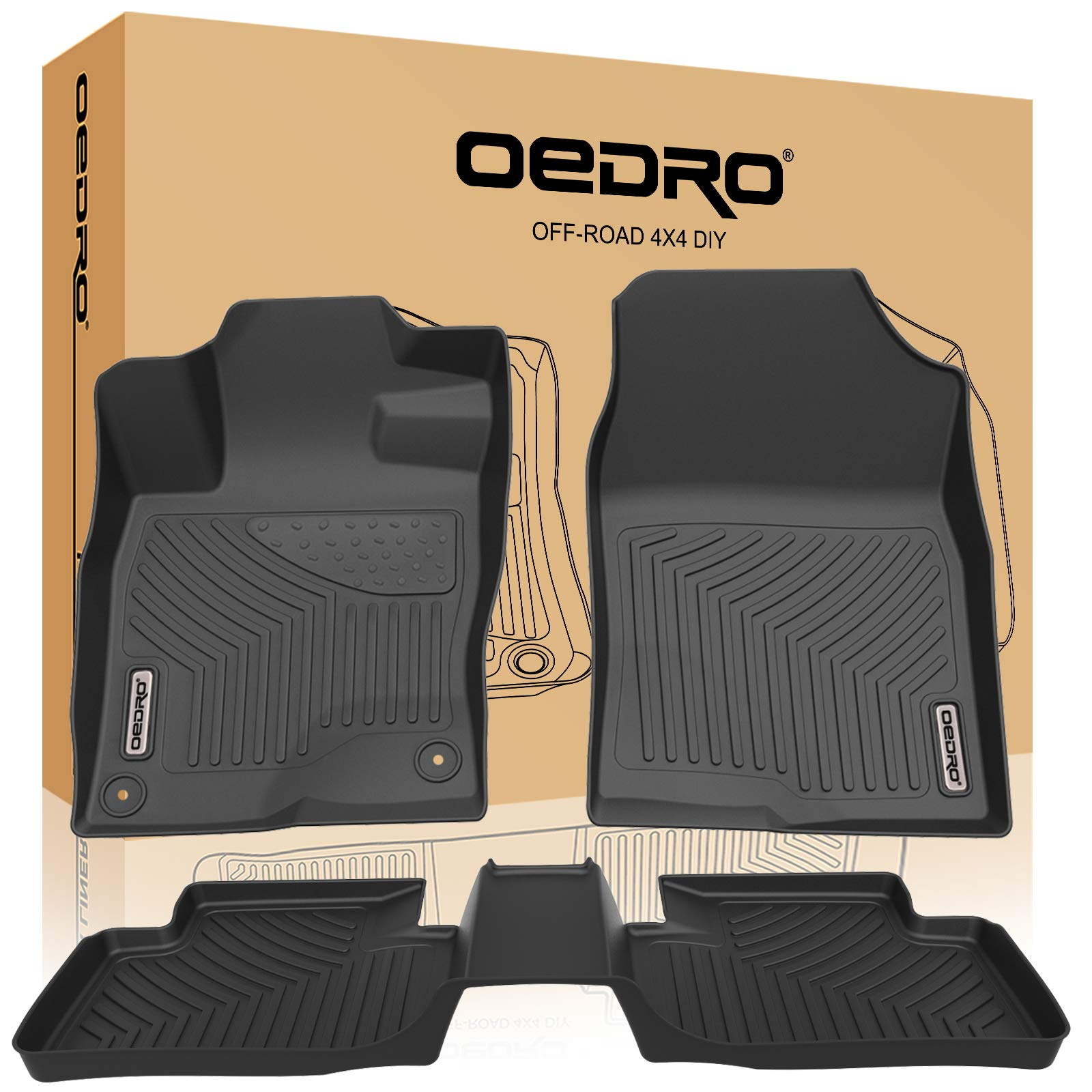 oEdRo Floor Mats Compatible for 2016-2019 Honda Civic Sedan/Civic Hatchback/Civic Type R, Unique Black TPE All-Weather Guard Includes 1st and 2nd Row: Front, Rear, Full Set Liners