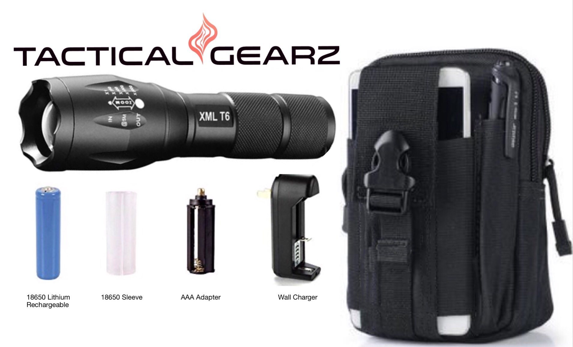 TacticalGearz LED Flashlight Bundle! High-Grade Military Aluminum! Super Bright 1000 Lumens T6 LED! Waterproof! Zoomable! 5 Power modes! Battery Kit! All nested in a Molle Pack!