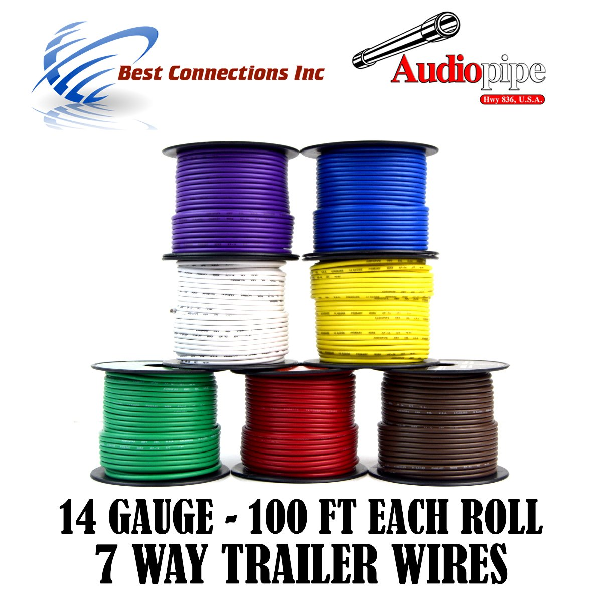 Trailer Light Cable Wiring For Harness 100ft spools 14 Gauge 7 Wire 7 colors by Best Connections