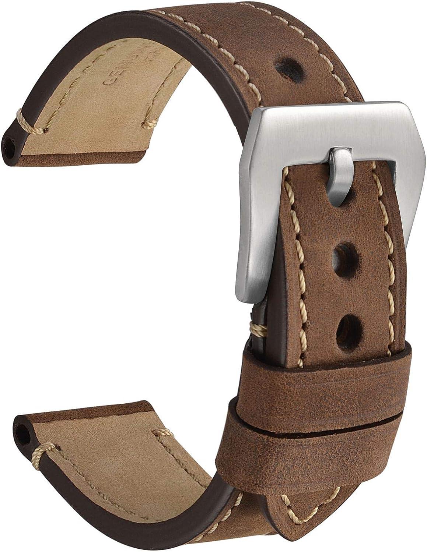 WOCCI Correas de Reloj de Micro Gamuza, Cuero Vintage Crazy Horse, Hebilla de Acero Inoxidable Resistente, Correas de Repuesto 18 mm 20 mm 22 mm 24 mm
