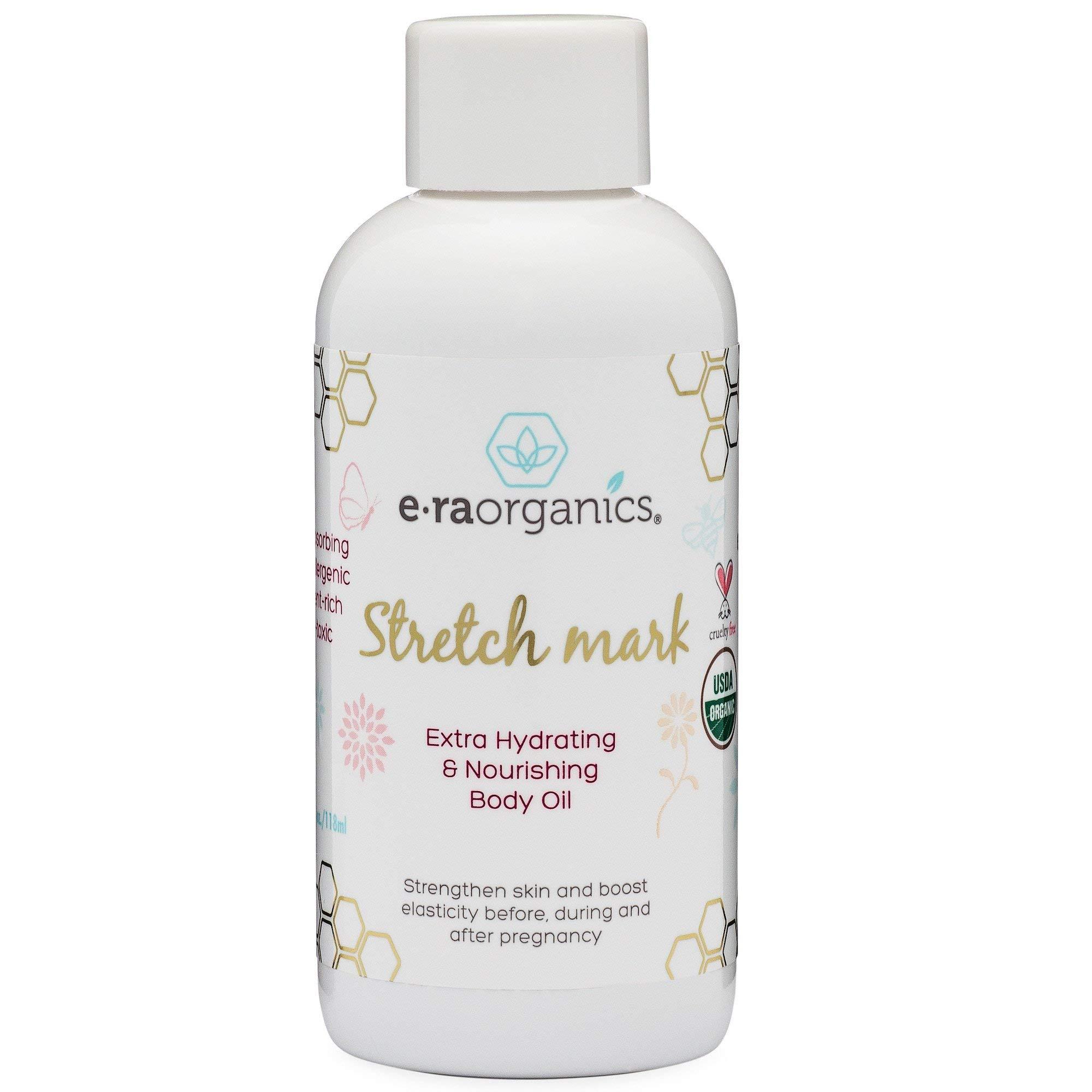 Organic Stretch Mark & Scar Treatment USDA Certified Organic Nourishing Body Oil to Reduce, Remove & Prevent Pregnancy Stretch Marks For New Moms. Perfect Moisturizer For Dry Skin 4oz Era-Organics by Era Organics