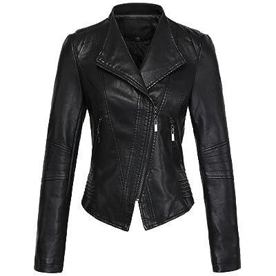 chouyatou Women's Casual Collarless Cropped Pu Leather Biker Jacket at Women's Coats Shop
