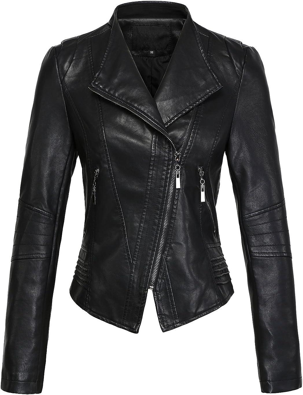 Chouyatou Womens Casual Collarless Cropped Pu Leather Biker Jacket