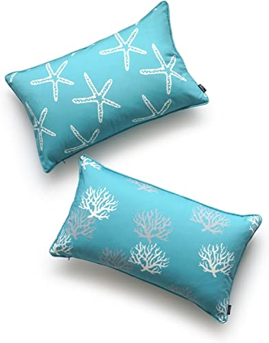 Hofdeco Beach Indoor Outdoor Pillow Cover ONLY, Water Resistant for Patio Lounge Sofa, Aqua Turquoise Starfish Coral, 12 x20 , Set of 2