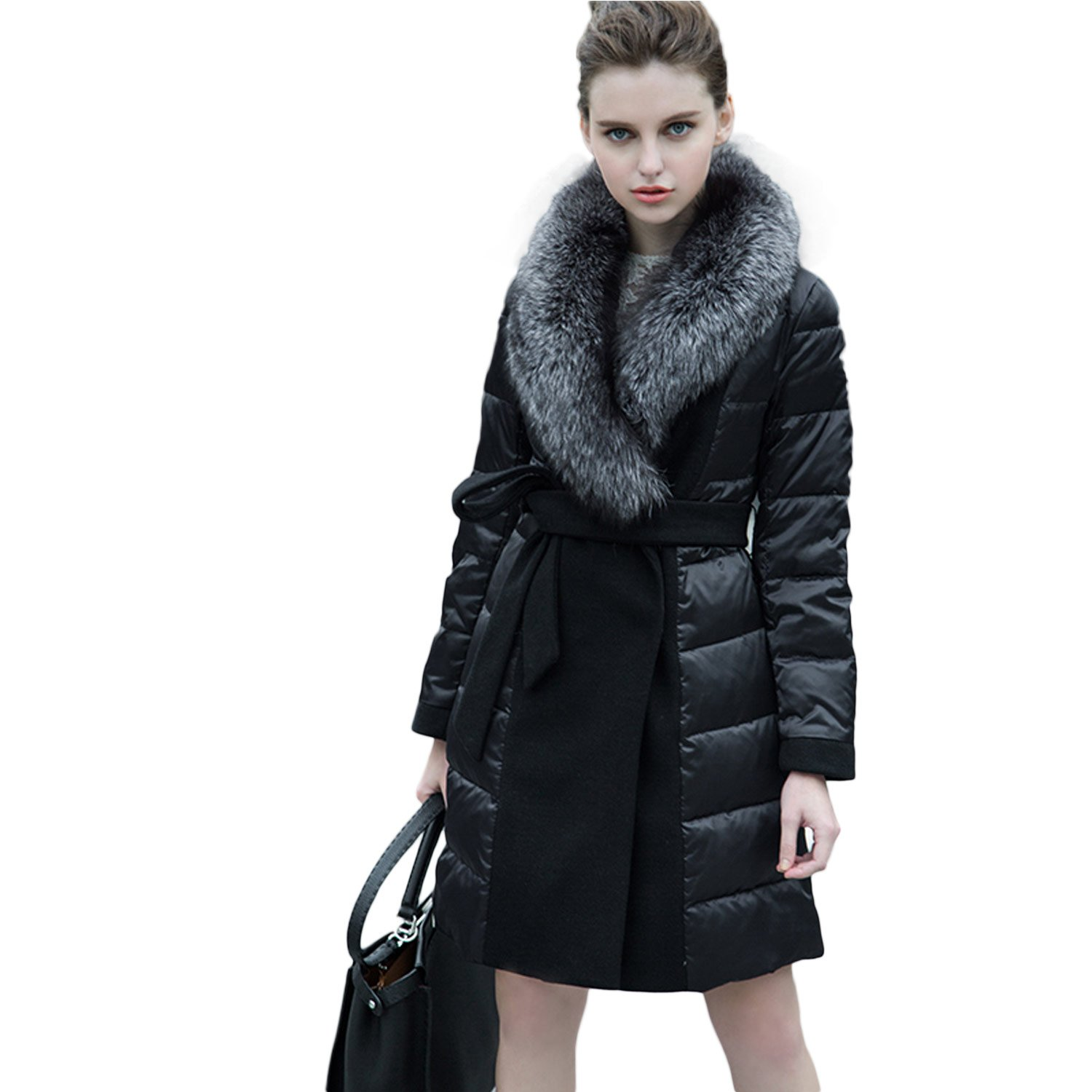 Mandy's Women's Winter Long Down Coat with Genuine Fox Fur Collar (Medium)