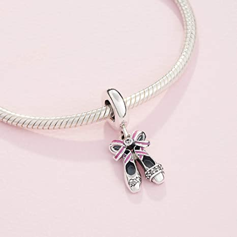 Ballet shoes sterling silver charm .925 x 1 Ballerina shoe Charms BJ1208