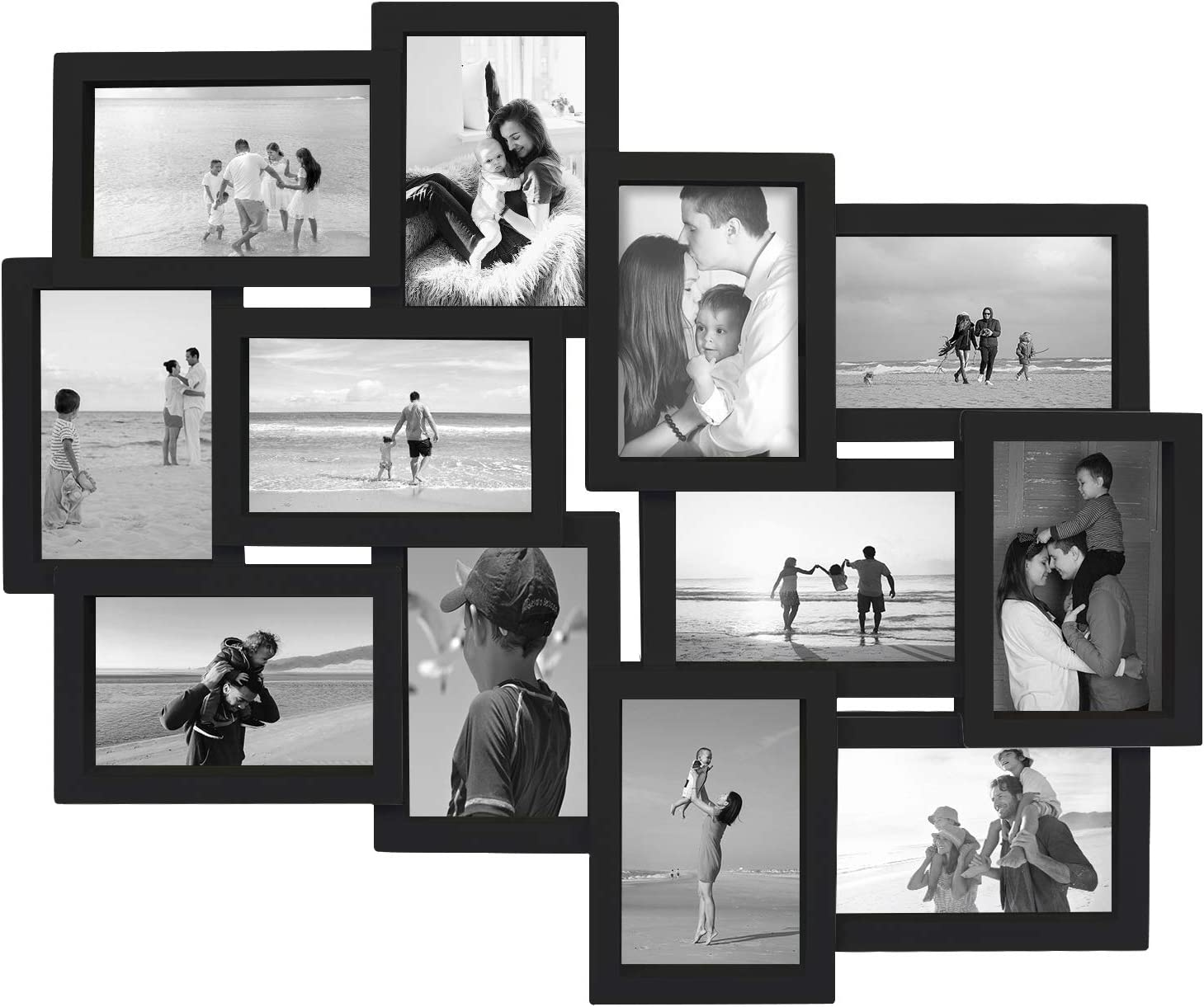 Jerry & Maggie - Photo Frame 19x22 Black Picture Frame Selfie Gallery Collage Wall Hanging for 6x4 Photo - 12 Photo Sockets - Wall Mounting Design