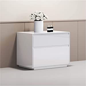 Whiteline Modern Living Malibu Contemporary Night Stand in High Gloss Grey or White with 2 Self-Close Drawers