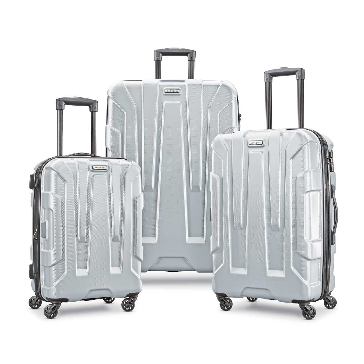 Samsonite Centric Expandable Hardside Luggage Set with Spinner Wheels, 20/24/28 Inch, Silver