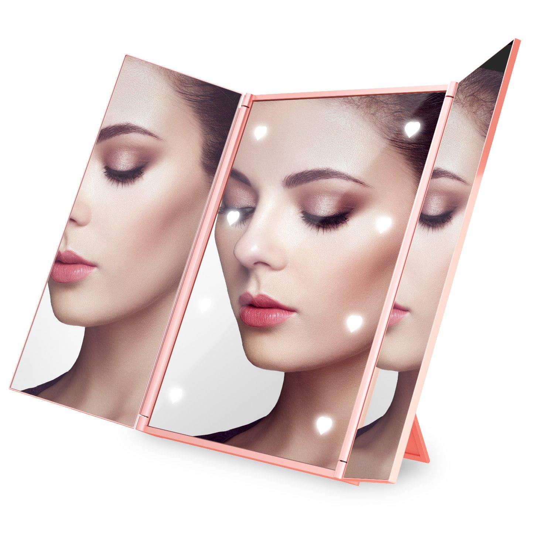 Expower Kosmetikspiegel mit 8 LED Beleuchtung Make up Spiegel Faltbare Beleuchtet Schminkspiegel Reisespiegel Taschenspiegel Kosmetik Schminkspiegel Badspiegel