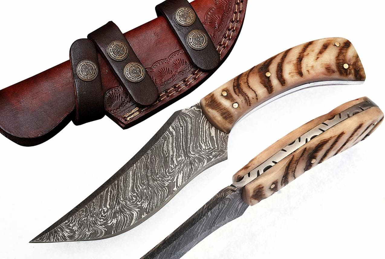 Grace Knives Handmade Damascus Steel Hunting Knife 8.5 Inches with Leather Sheath G-1066