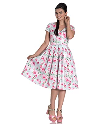 59bc48fb3a1b Hell Bunny Natalie Rose Floral Tartan Pleated 50s Summer Dress   Amazon.co.uk  Clothing