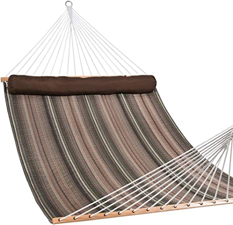 55/'/' Heavy Duty Quilted Fabric Double Hammock With Pillow Spreader Bar Swing