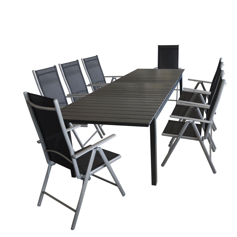 ... Polywood Tischplatte + 8x Alu Gartenstuhl Silber, Textilenbespannung  Schwarz, Rückenlehne 7 Fach Verstellbar / Hochlehner Terrassenmöbel  Gartenmöbel ...