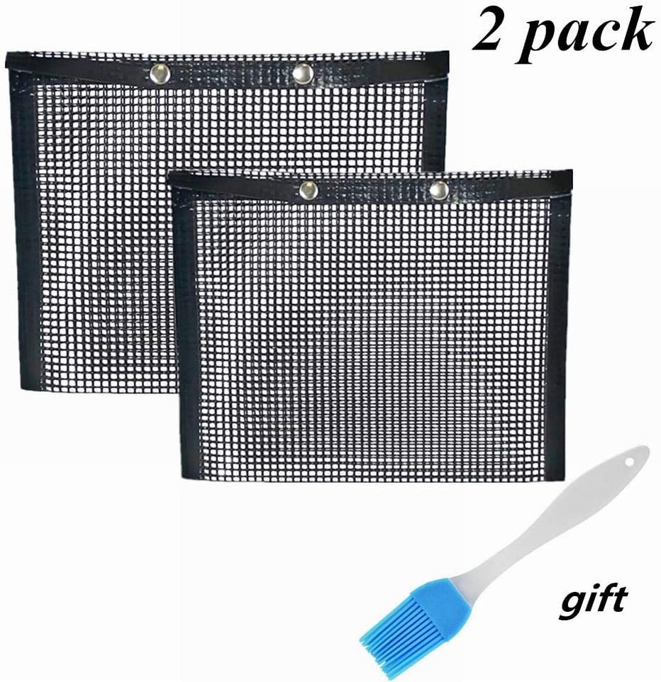 ACGN BBQ Grill Mesh Bag,Non-Stick BBQ Baked Bag Grilling Baking Reusable and Easy to Clean Non-Stick Mesh Grilling Bag with Free Oil Brush 2 Pack