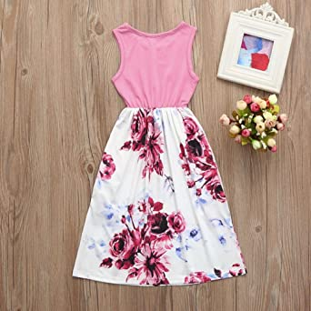 7f086e7626 Amazon.com  TiTCool Girls Maxi Dress Sleeveless Flower Print Pocket Sun  Dress 2-10 Years Old  Clothing