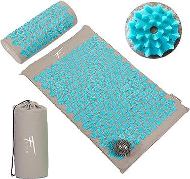 Oferta amazon: Kit de acupresión Fitem - Esterilla de acupresión + Cojín de acupresión + Bolsa + Bola de masaje - Alivia dolores de Espalda y Cuello - Ciática - Masaje de espalda - Relajación muscular