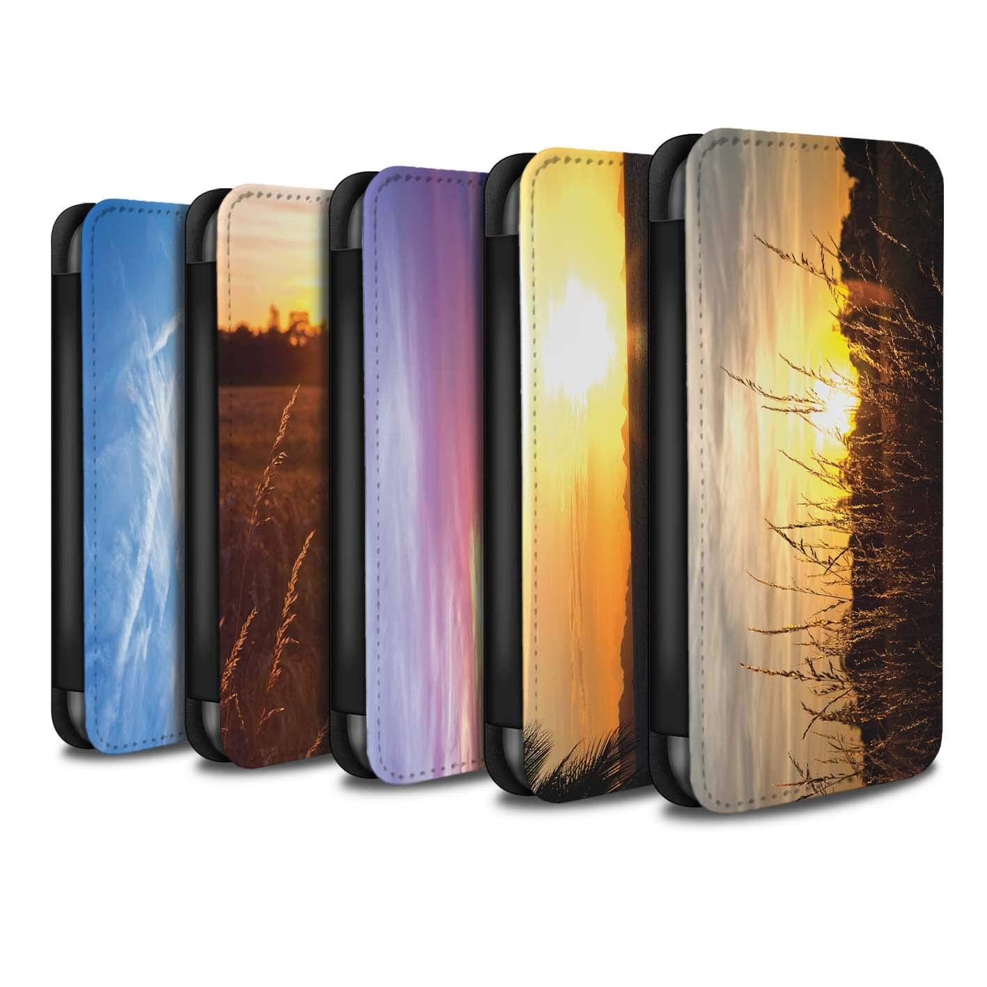 eSwish PU Leather Wallet Flip Case/Cover for Huawei P Smart/Multipack (20 Pack) Design/Sunset Scenery Collection