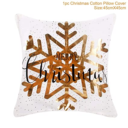 Home & Garden Christmas Pillow Vintage Santa Claus Snowflake Bird Happy New Year Cushion Cover Snowflake Decorative Ball Bell Gift Deer Animal Cushion Cover