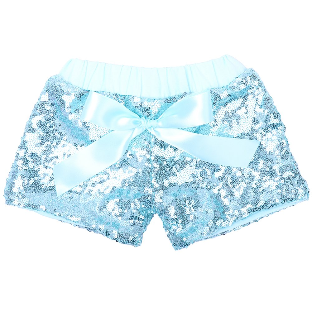 Cilucu Baby Girls Shorts Toddler Sequin Shorts Sparkles on Both Sides Blue/Turquoise 3T