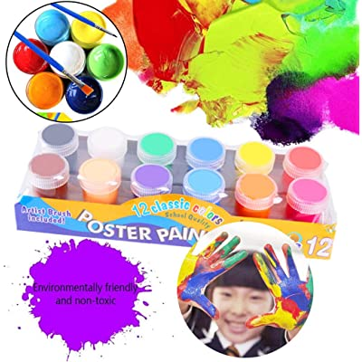 Lucky 99 6/12Pcs Washable Kids Finger Paint Set with Brush, Natural Healthy Non-Toxic Drawing Paint, Colorful Children's Craft Paint for Painting, Graffiti, DIY Creation (A): Sports & Outdoors
