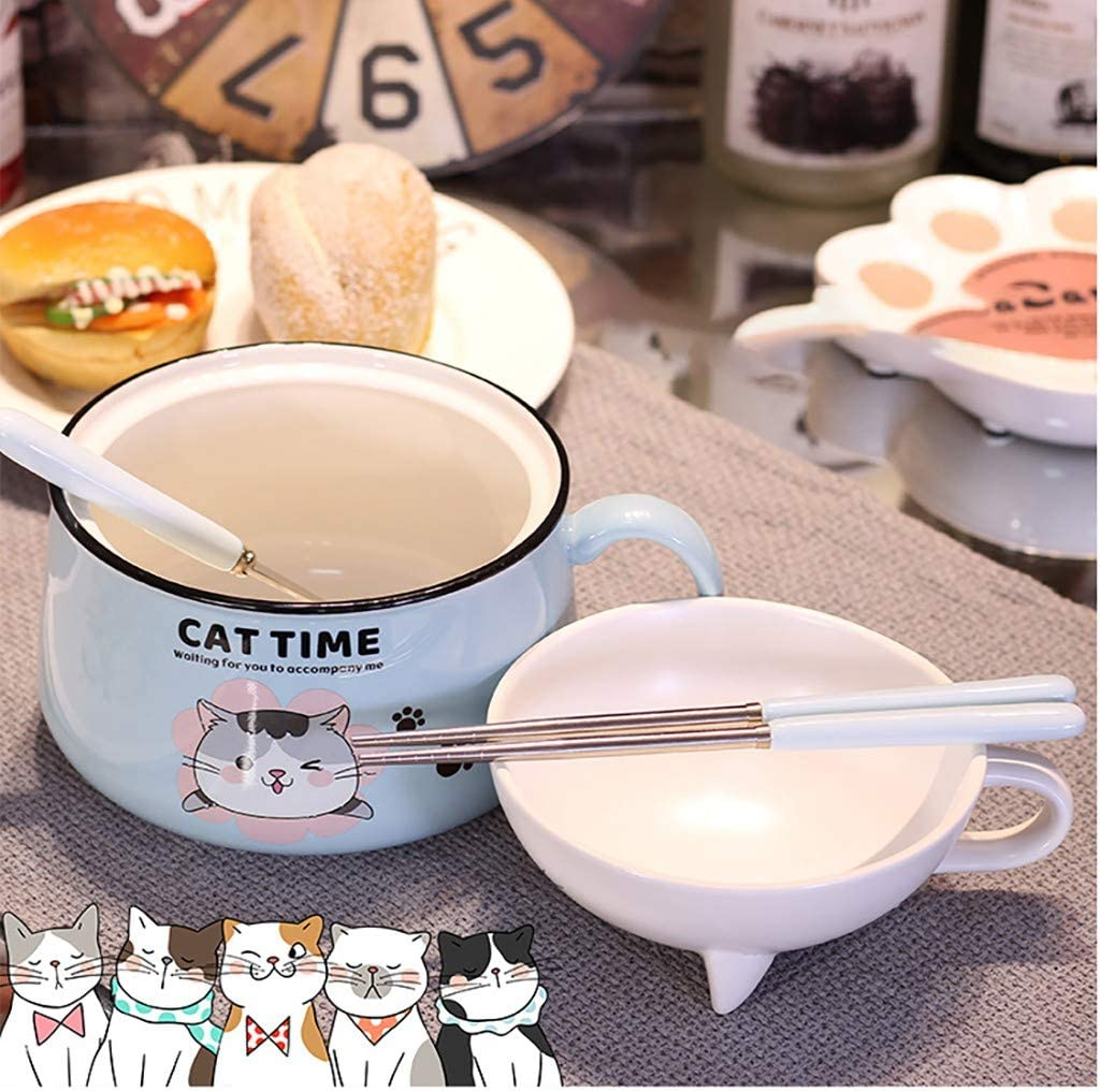 With Lid Creative Ramen Soup Bowl Breakfast Bowl Bento Box With Lid Spoon and Chopsticks 3-piece Set GuoYq Japanese Style Cute Ceramic Instant Noodle Bowl