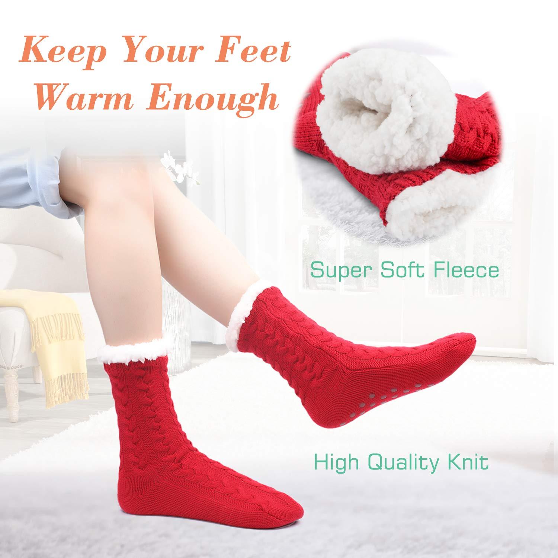2 Pairs Women Fleece Lined Socks Cozy Fuzzy Winter Twist Slipper Socks with Gripper